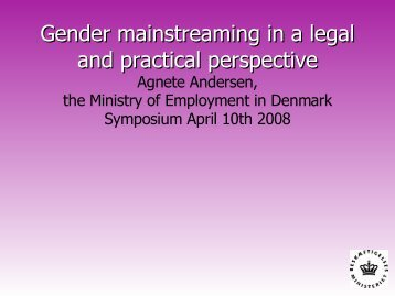 Gender mainstreaming in a legal and practical perspective