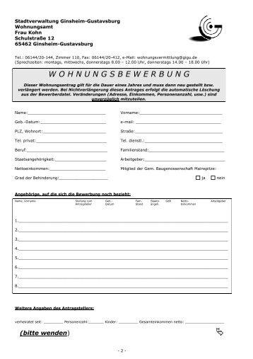 wohnungsbewerbung pdf formular ginsheim gustavsburg - Wohnung Bewerbung