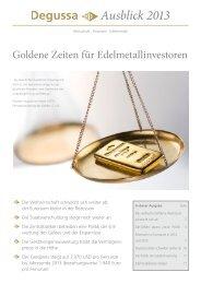 Ausblick 2013 - GoldSeiten.de