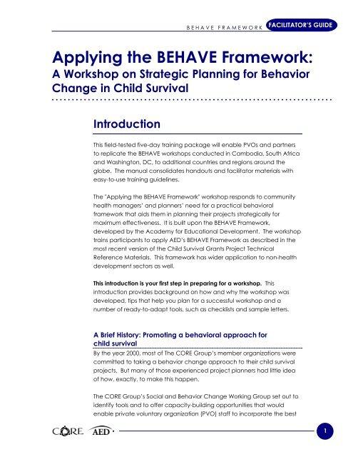Applying the BEHAVE Framework: - FHI 360 Center for Global