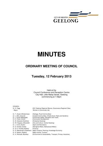 Council Minutes - 12 February 2013 - City of Greater Geelong