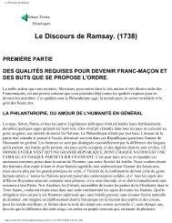 Le Discours de Ramsay. (1738) - Grand Lodge Bet-El