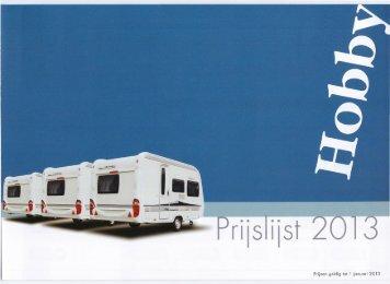 Prijslijst Hobby caravans - Gelderse Caravan Centrale