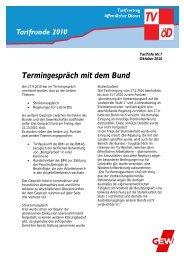 Tarifinfo Nr. 7 - Tarifvertrag Bund und Kommunen
