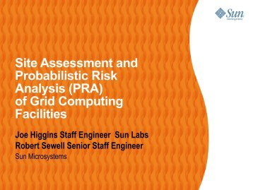 Site Assessment and Probabilistic Risk Analysis (PRA) of Grid ...