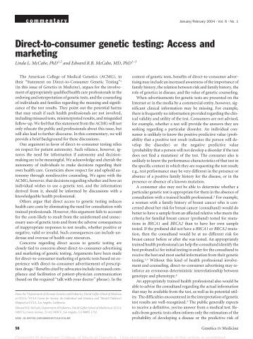 Direct-to-consumer genetic testing: Access and marketing