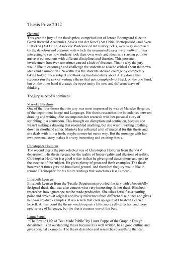 Thesis Prize 2012 - Gerrit Rietveld Academie