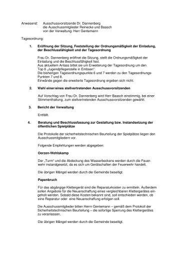 Anwesend: Ausschussvorsitzende Dr. Dannenberg die ... - Embsen