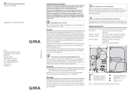 Netgelijkrichter UPS Plus - Gira