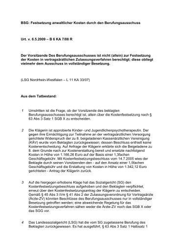 BSG: Festsetzung anwaltlicher Kosten durch den ... - GesR