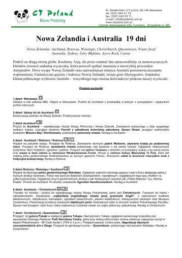 Program Nowa Zelandia i Australia 19 dni 2010 - Gejsza Travel
