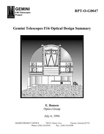 RPT-O-G0047 Gemini Telescopes f/16 Optical Design Summary E ...