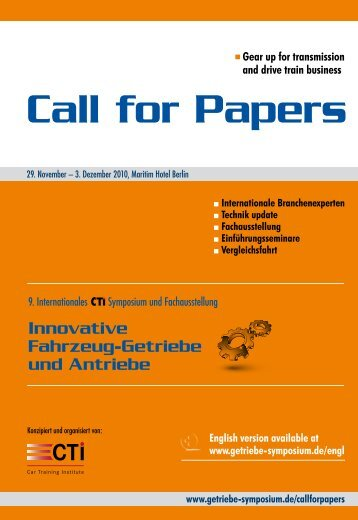 "Call for Papers - Das Internationale CTI Symposium ""Innovative ..."