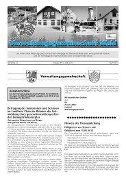 wicklung eines generationenübergreif - Gemeinde WALD