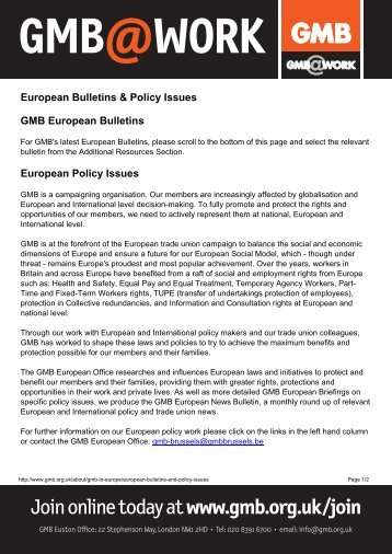 European Bulletins & Policy Issuesx - GMB