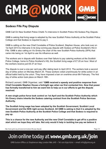 Sodexo Fife Pay Dispute - GMB