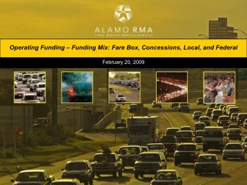 Operating Funding – Funding Mix: Fare Box, Concessions, Local ...