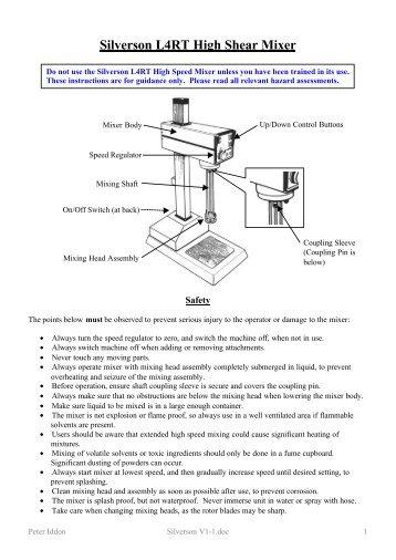 Admix mixer manual