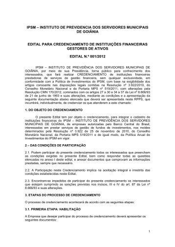 Edital para credenciamento de instituições financeiras gestores de ...
