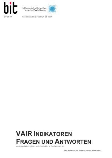 VAIR INDIKATOREN FRAGEN UND NDIKATOREN ... - bit Gmbh