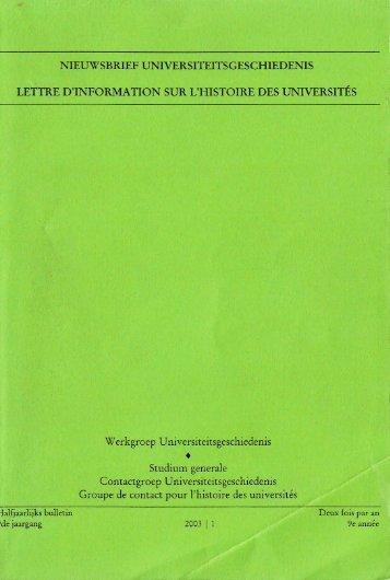 Jaargang / Année 9, 2003, nr. 1 - Gewina