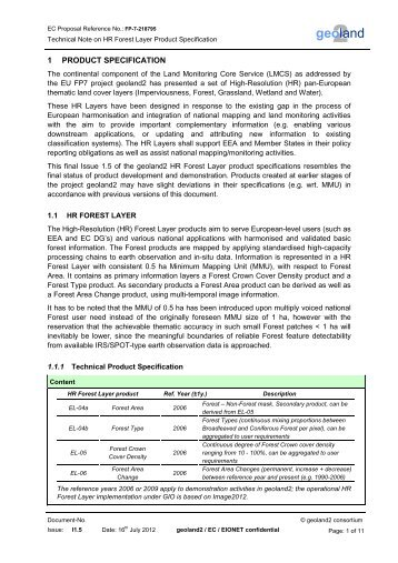 HR Forest Layer Technical Product Specification - geoland