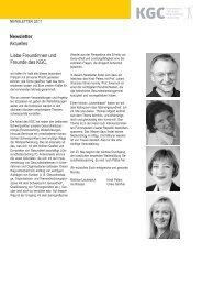 Liebe Freundinnen und Freunde des KGC, Aktuelles Newsletter