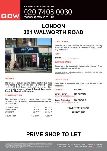 LONDON 301 WALWORTH ROAD PRIME SHOP TO LET - GCW