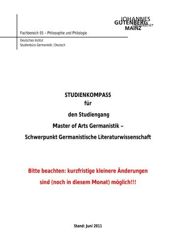 STUDIENKOMPASS für den Studiengang Master of Arts Germanistik ...
