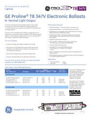 GE Proline® T8 347V Electronic Ballasts - GE Lighting Asia Pacific