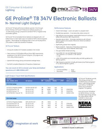 GE Proline® T8 347V Electronic Ballasts - GE Lighting Asia Pacific  sc 1 st  Yumpu & Quick Reference Lamp to Ballast Selection Guide - GE Lighting Asia ... azcodes.com