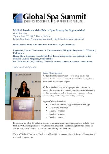 Medical Tourism and the Role of Spas - Global Spa & Wellness ...