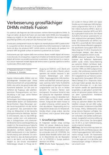 Verbesserung grossflächiger DHMs mittels Fusion - Geomatik Schweiz