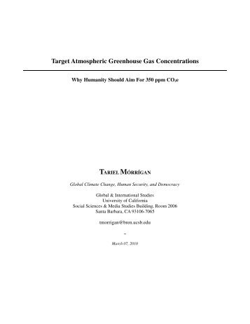 Target Atmospheric Greenhouse Gas Concentrations - Global and ...