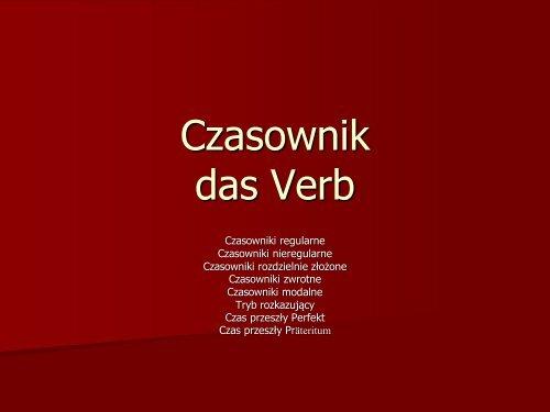 Czasownik das Verb