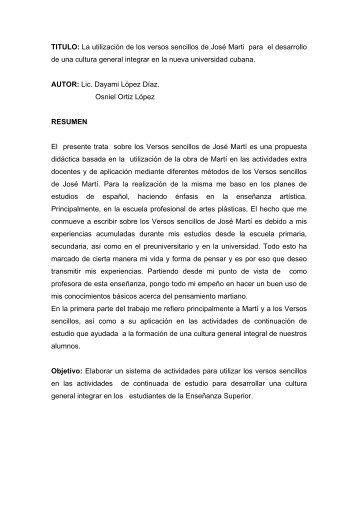 La utilización de los versos sencillos de José Marti para ... - GDeportes