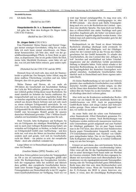 Plenarprotokoll der 115. Sitzung vom 20.9.2007, S. 11884 ff.