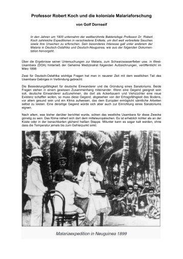 Professor Robert Koch und die koloniale ... - Golf Dornseif