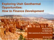 Exploring Utah Geothermal Opportunities: How to Finance ...