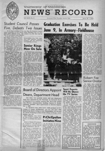 University of Cincinnati News Record. Thursday, June 6, 1963. Vol ...