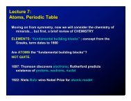 Lecture 7: Atoms, Periodic Table