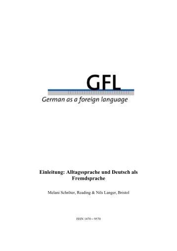 Einleitung: Alltagssprache und Deutsch als ... - GFL-Journal