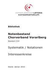 Notenbestand Chorverband Vorarlberg Systematik / Notationen ...