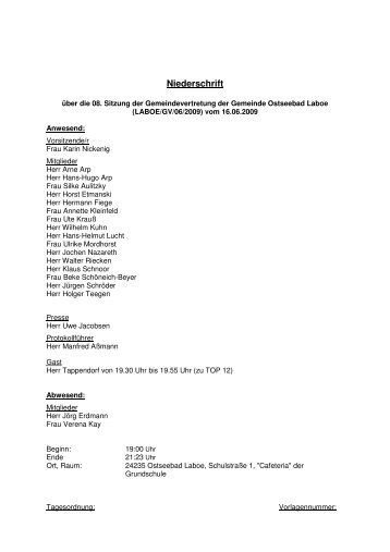 Niederschrift - Gemeinde Laboe