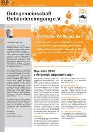 Newsletter Dezember 2010 - Gütegemeinschaft Gebäudereinigung ...