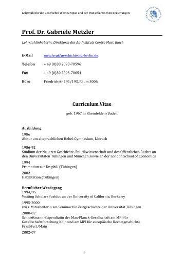 Curriculum Vitae Pdf Institut Fur Geschichtswissenschaften