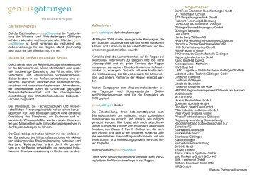 Ziel des Projektes Nutzen für die Partner und die ... - geniusgöttingen