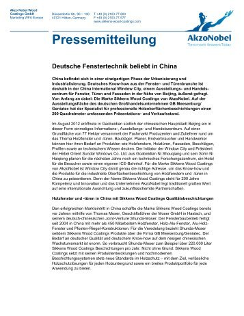 Deutsche Fenstertechnik beliebt in China - Geniatec
