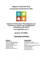 Rapport d'activité 2012 Section 30 (INEE) - GDR SIP-GECC - CNRS