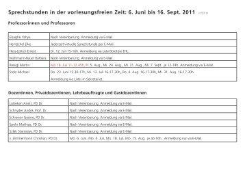 Sprechstunden in der vorlesungsfreien Zeit: 6. Juni bis 16. Sept ...